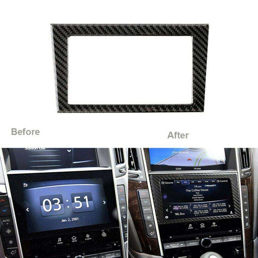 Fibra de carbono consola interior del coche navegación GPS cubierta del marco de la pantalla pegatina decorativa para Infiniti Q50 Q60 2014-2019 estilo del coche