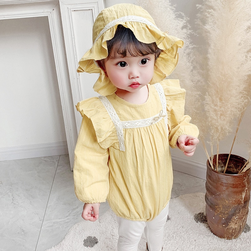 Yg brand children's wear 2021 spring new girls' triangle Hoodie one piece clothes baby fart clothes