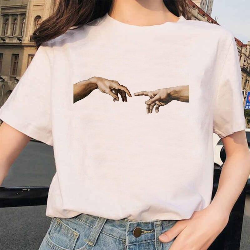 Camiseta michelangelo ulzzang mãos, camiseta feminina vintage harajuku, estética, gráfico de grãos 90s, 2020