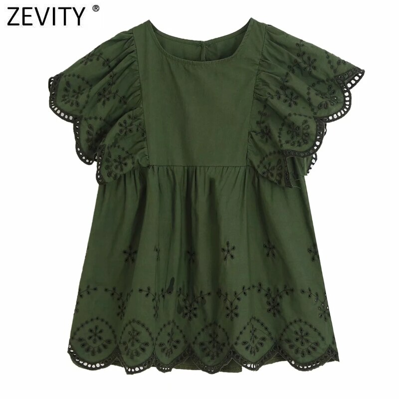 ZEVITY Neue frauen o neck aushöhlen stickerei casual kittel bluse shirt frauen schmetterling hülse chic blusas femininas tops LS7127