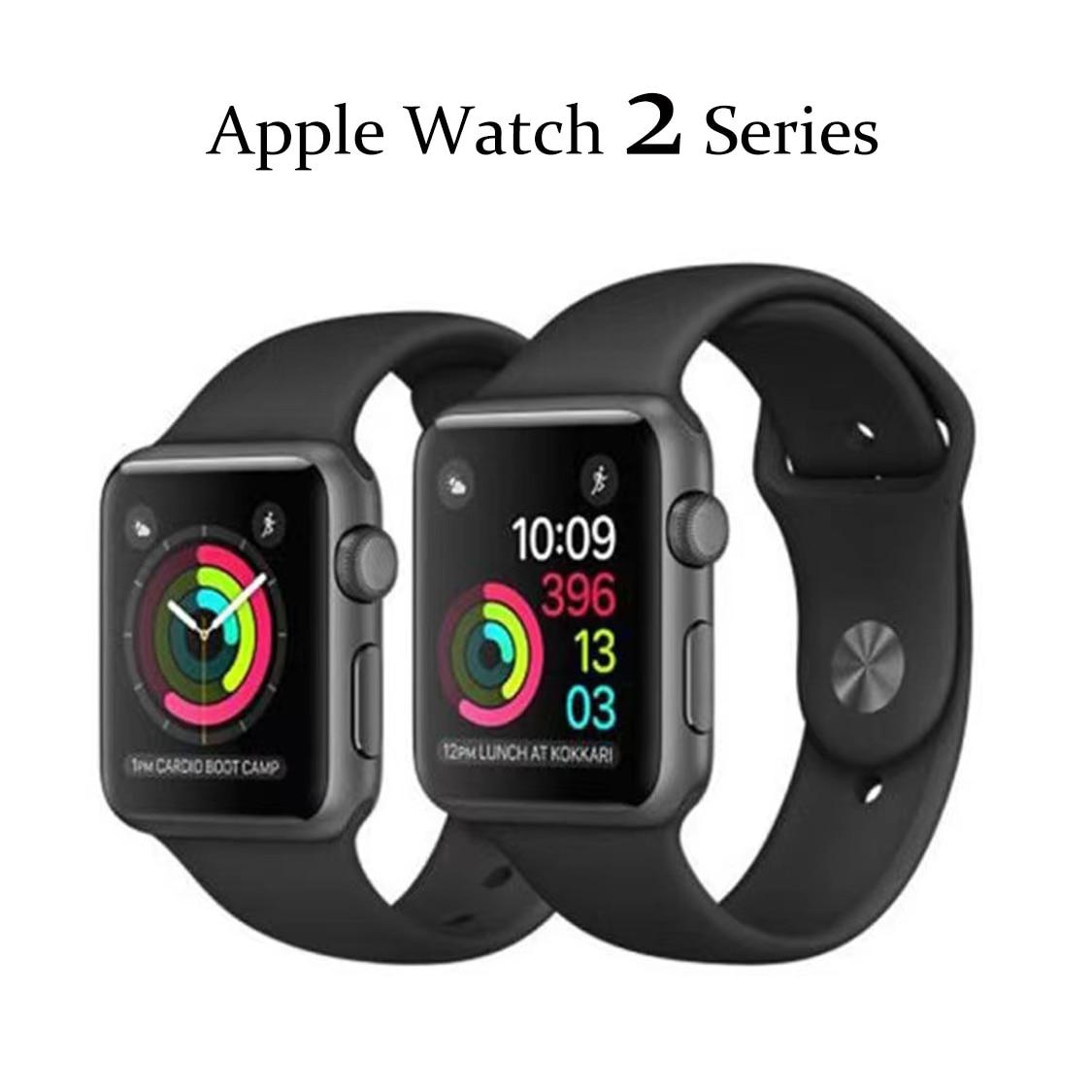Apple Watch Series 2 GPS 38 مللي متر/42 مللي متر أصلي مستعمل 90% جديد أبيض وأسود حاوية من الفولاذ المقاوم للصدأ الرياضة الفرقة Smartwatch