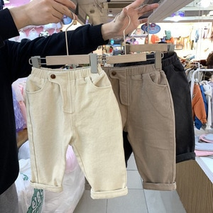 New style trousers for men and women, Korean style loose, western style, thick washed cotton casual trousers