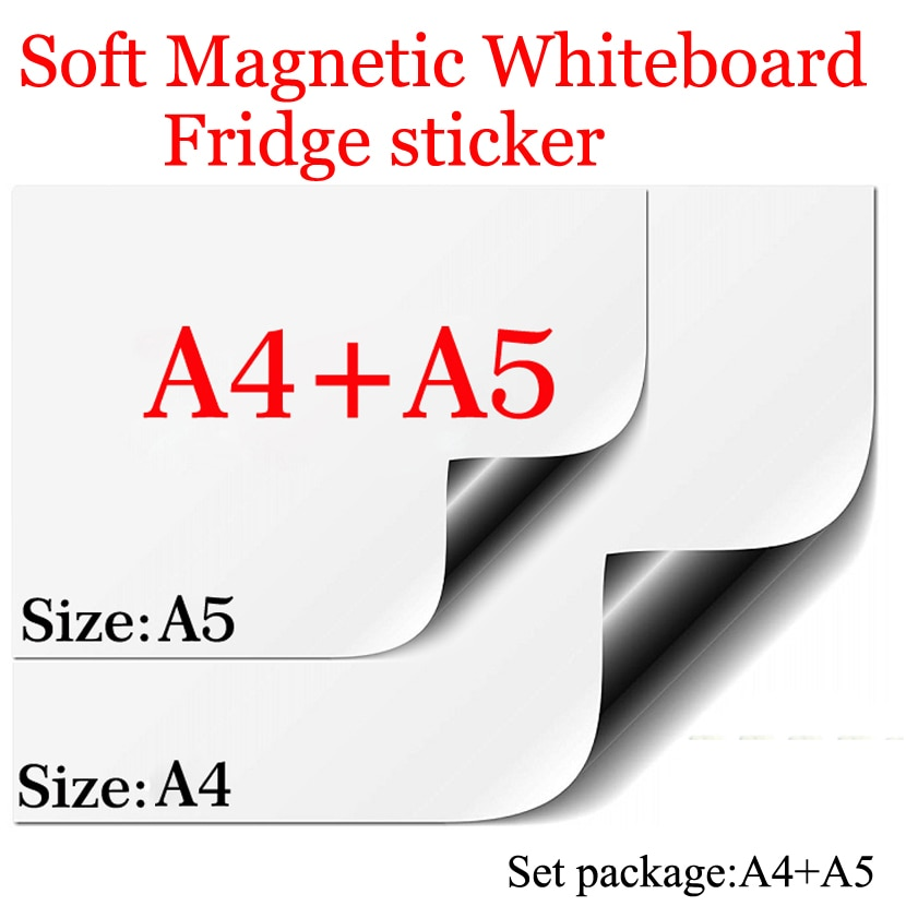 Tablero blanco magnético A4 + A5 conjunto paquete suave casa Oficina cocina escuela pizarra de borrado en seco almohadilla Flexible imán nevera