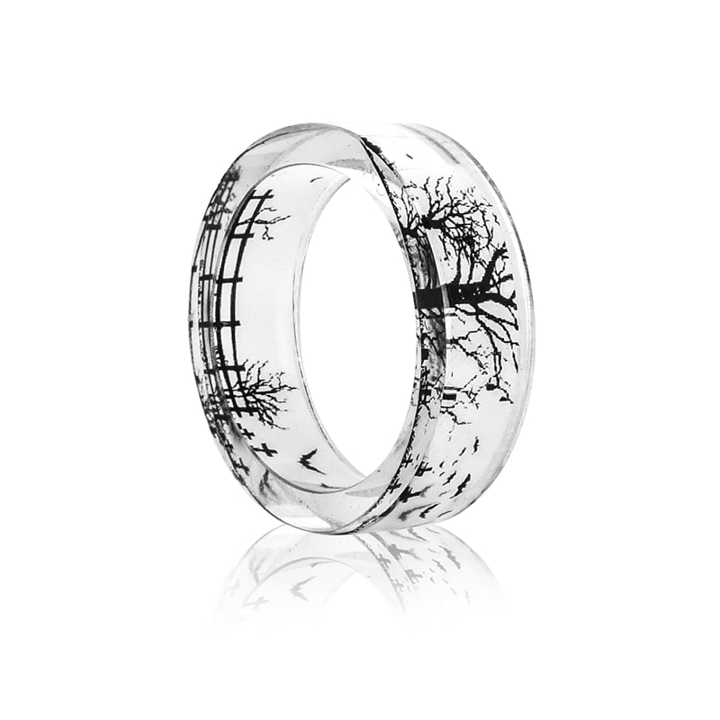 Fashion Handmade Transparent Resin Ring Bat Castle Dandelion Scenery Inside Epoxy Resin Rings for Women Finger Punk Jewelry 2019