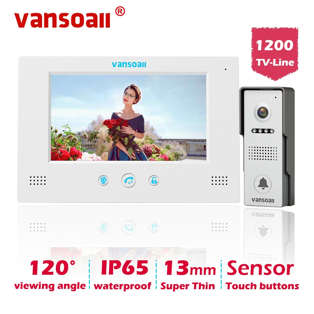 VANSOALL וידאו דלת טלפון פעמון Wired וידאו אינטרקום מערכת 7 אינץ צבע צג HD מצלמה עם דלת שחרור, מגע כפתור