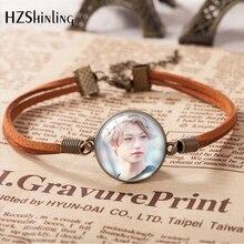 2020 nova moda pulseira de couro de vidro cúpula kpop grupo vadio kidz felix bangchan bonito meninos padrão pulseira