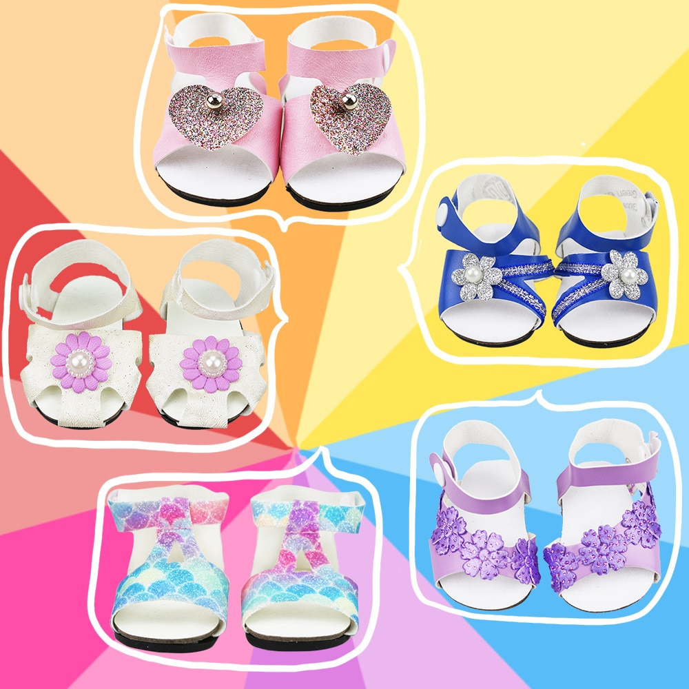 2021 New Fit 17 inch 43cm Baby New Born Doll Shoes Accessories sandals For Baby Birthday Gift