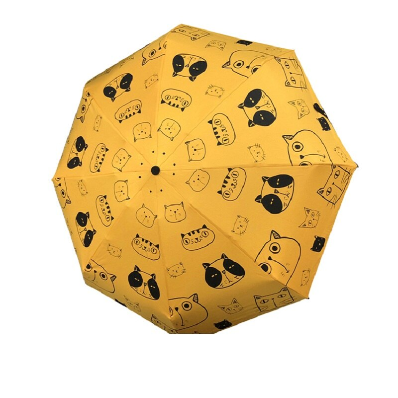 Três-floding completo automático guarda-chuva chuva feminino bonito gato amarelo dobrar guarda-chuva feminino animal guarda-chuva presente de natal