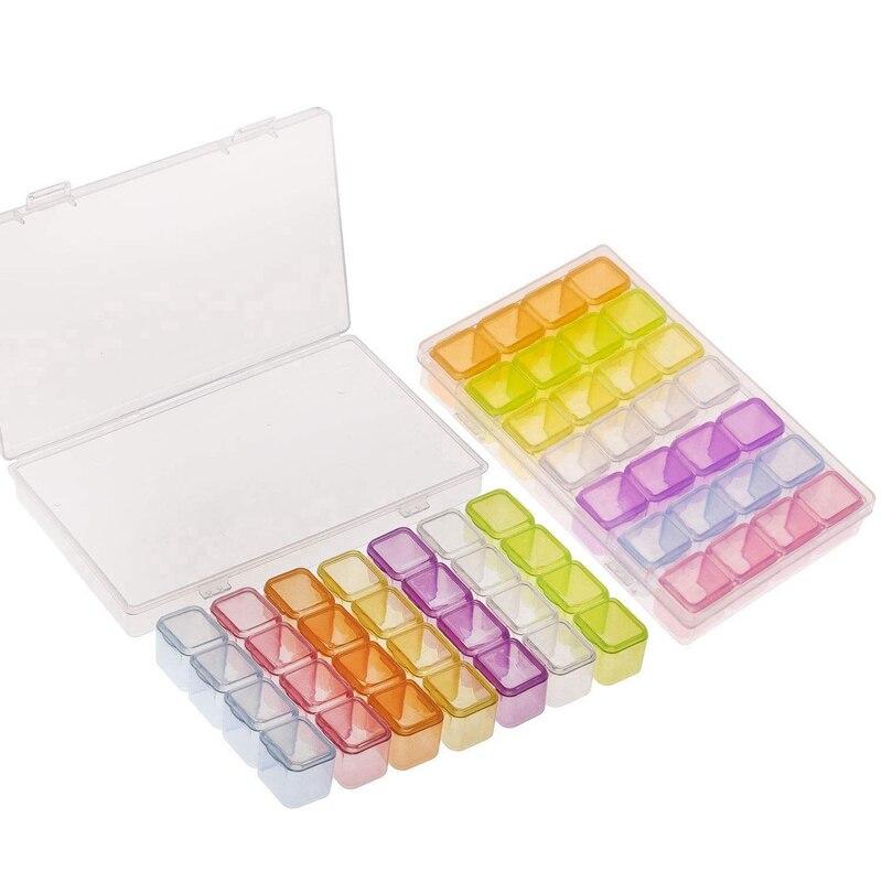 2 paquetes de 28 rejillas caja de pintura de diamante colorida, caja de bordado de diamantes, caja de almacenamiento para accesorios de diamantes de imitación de pintura