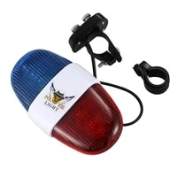 bicycle cycling 4 tones 6 led electronic led warning lights siren horn beeper bell