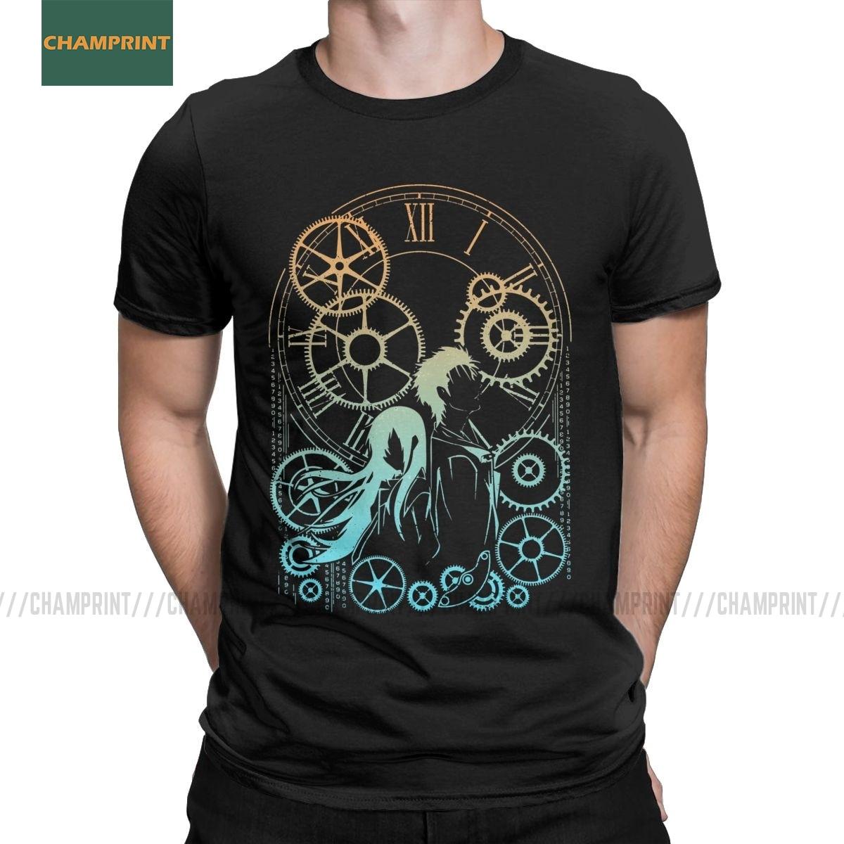 Time Steins Gate, футболки для мужчин, хлопковые футболки, аниме, майури, макисе, манга, дару, Шиина, Ринтаро, игровая футболка, короткий рукав