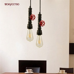American Industrial Water Pipe Pendant Light E27 Led Retro Cafe Bar Restaurant Kitchen Lights Hanging Loft Dining Table Fixture