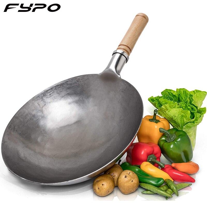 Wok-Wok artesanal tradicional de hierro martillado con mango de madera y acero,...