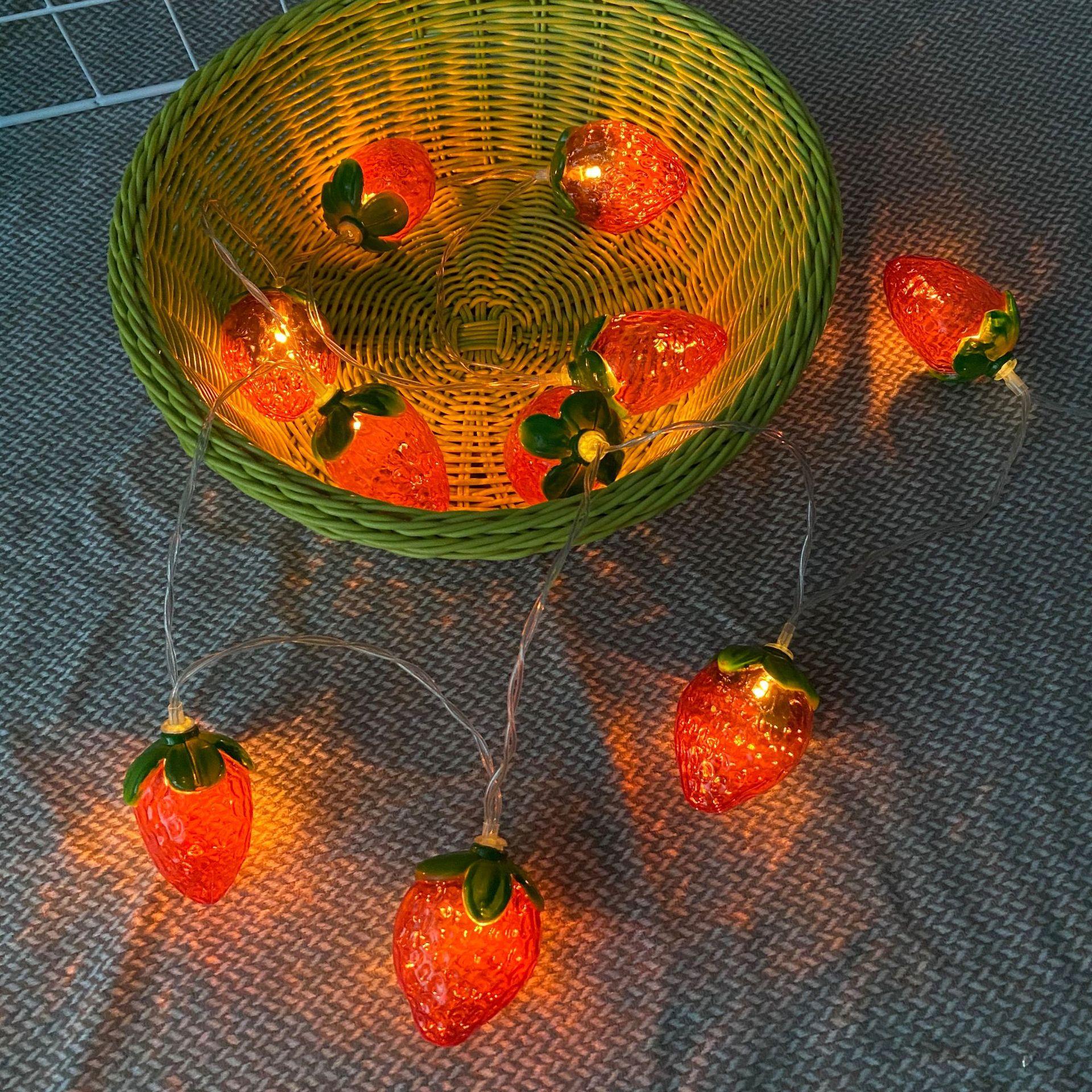 Morango iluminação decorações modelagem luzes árvore de natal luzes coloridas