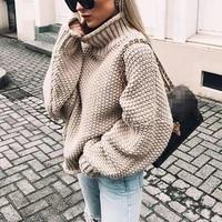 sweater women 2019 thick high collar bat sleeve autumn and winter europe warmn new winter clothes women