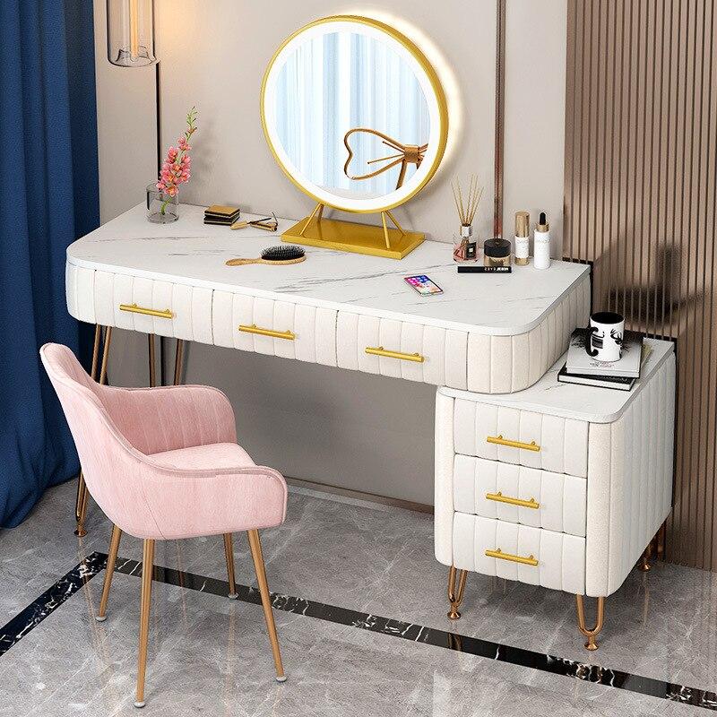طاولة تضميد فاخرة مع مرآة الغرور ماكياج 4 ألوان الرخام الاصطناعي المخملية أدراج ل مرآة مضمد الأثاث غرفة نوم