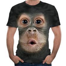 Mannen 3D Animal Print Orangutan Aap T-shirt Met Korte Mouwen O-hals Zomer Tops Zwart Plus Size Nieuwigheid Casual Shirt 6XL # D