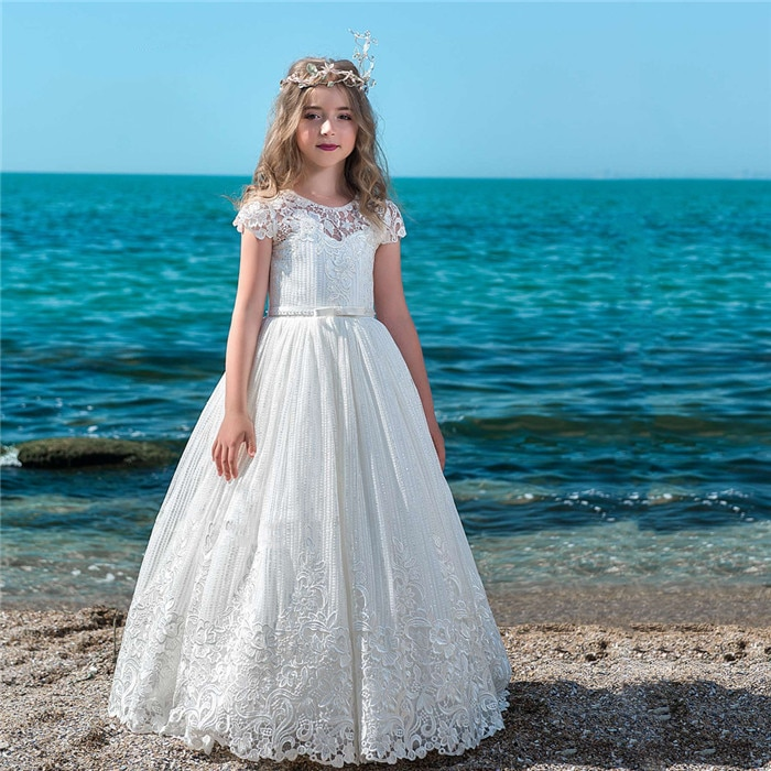 White Flower Girls Dresses for Wedding Cap Sleeves O Neck Lace Appliques Beading Girls First Communion Dress Birthday Gown