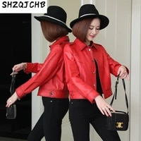 shzq 2021 spring new womens clothing korean version genuine leather leather clothing womens sheepskin loose short small coat s