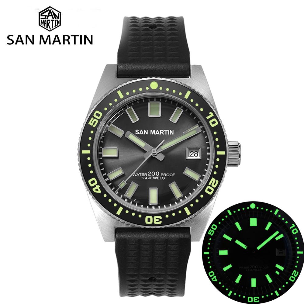 San Martin 62Mas Diver Automatic Mechanical Men Watch NH35 Stainless Steel Ceramic Bezel Sunray Dial Rubber Calendar Luminous