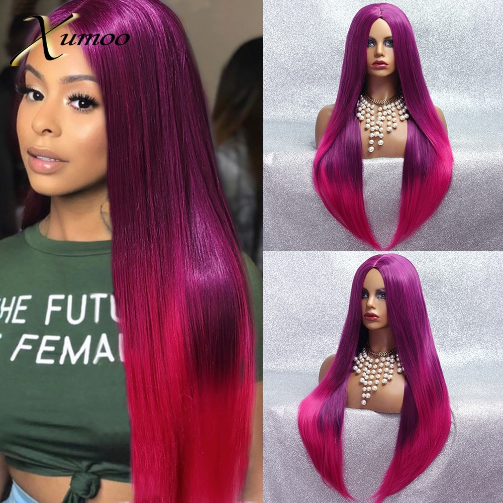 XUMOO Ombre Purple Pink Synthetic Wig High Temperature Fiber Long Straight Non-Lace Cosplay Wigs For Black Women