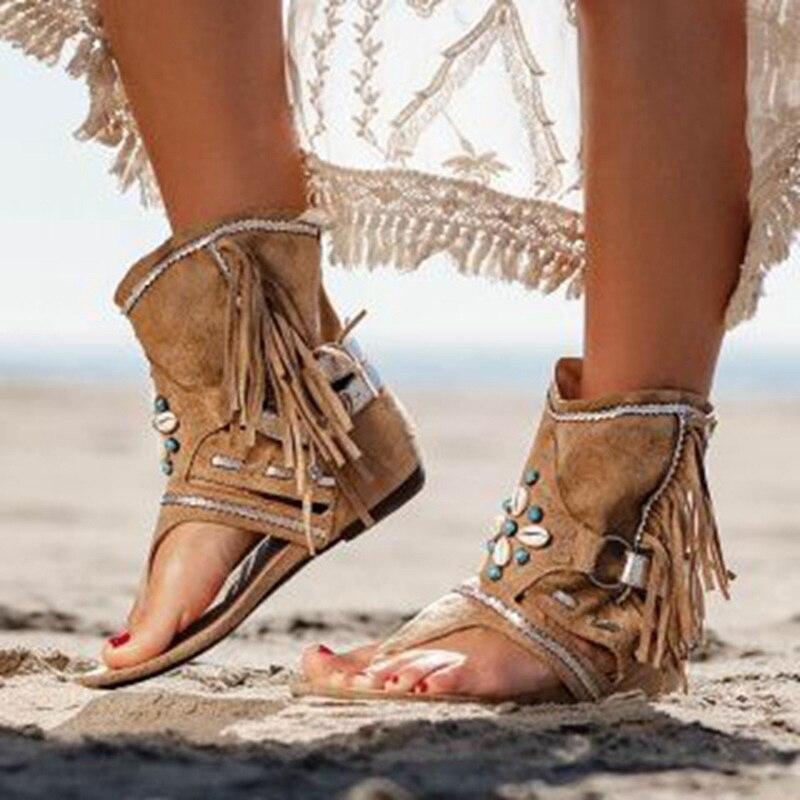 Women's Retro Sandals Gladiator Clip Toe Women's Sexy Ladies Vintage Boots Casual Tassel Rome Summer Beach Woman Shoes Female