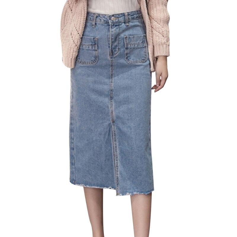 Nueva falda de mezclilla para mujer Casual de cintura alta faldas de mezclilla lápiz Patchwork estiramiento Delgado falda de mezclilla larga
