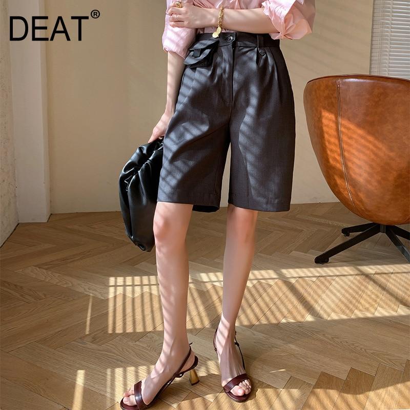 DEAT 2020 nuevo verano alta cintura bolso Patchwork medio bolsillo Oficina señora verano Pantalones mujer rodilla Pantalones