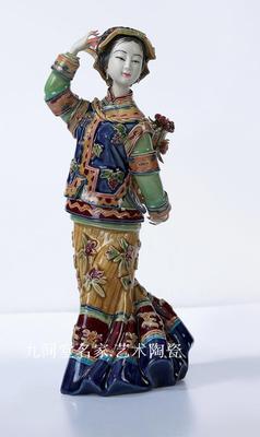 Muñecas de porcelana shiwan figuras clásicas señoras folk decoración de aduanas sala de estar restaurante presenta chica belleza figura Sculptu