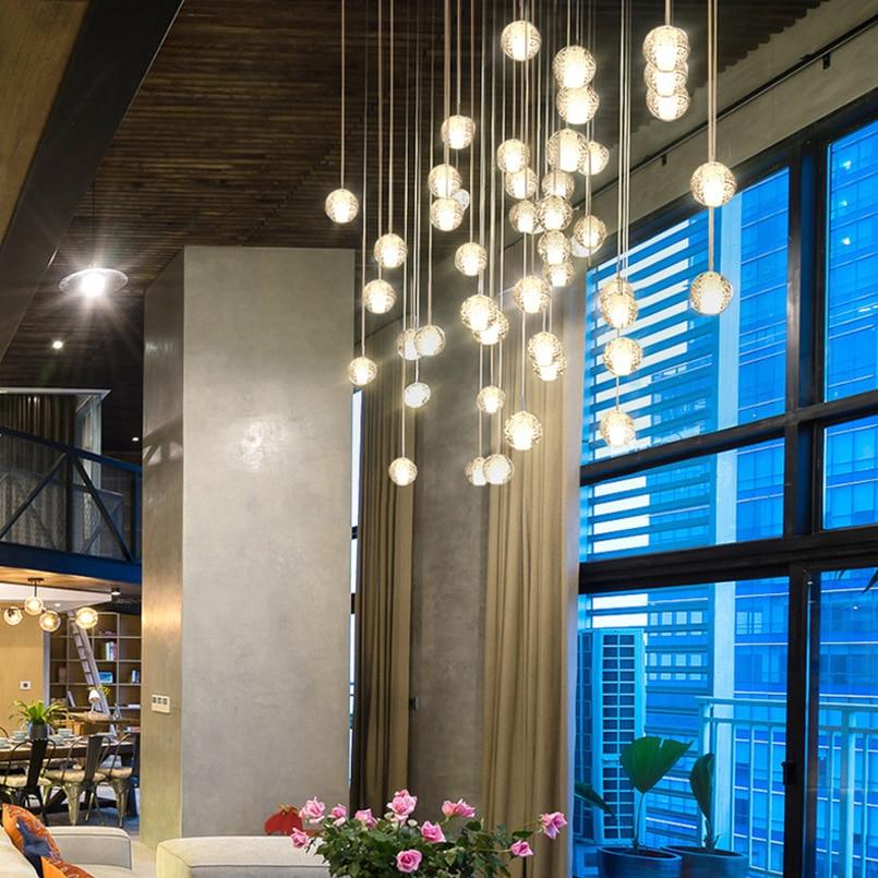 FSS Ceiling Pendant Lights For Stair Light Hanging Lamp LED AC 110V 220V Crystal For Bedroom Kitchen Island Cristal Lustre