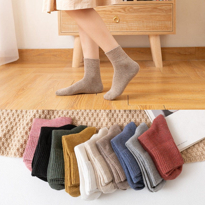 HOT 10pieces autumn winter warm women cotton socks colorful Special comfortable Knitted Girls Casual Socks women