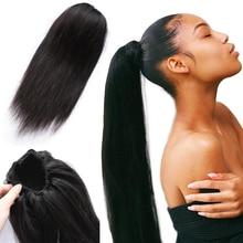 Queue de cheval brésilienne non-remy lisse-Ms Love   100% cheveux naturels, queue de cheval avec Clips, pour femmes, 1 pièce