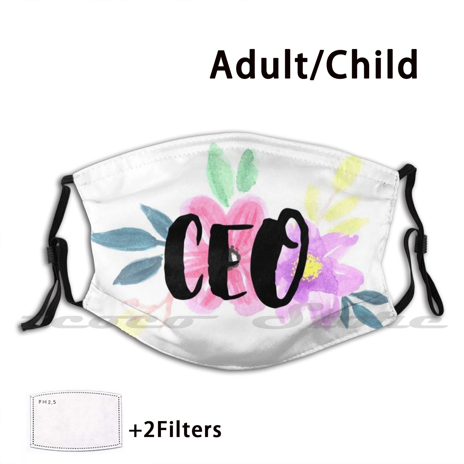 Floral Ceo Mask Cloth Reusable Print Filter Washable Career Future Career College University Student Job Business Business