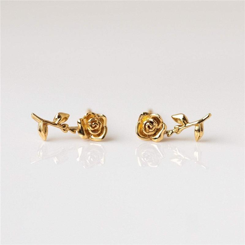 Blatt Rose Stud Ohrringe Koreanische Ohrringe echt 100% 925 sterling silber Ohrringe Süße temperament quasten persönlichkeit Ohrringe A3