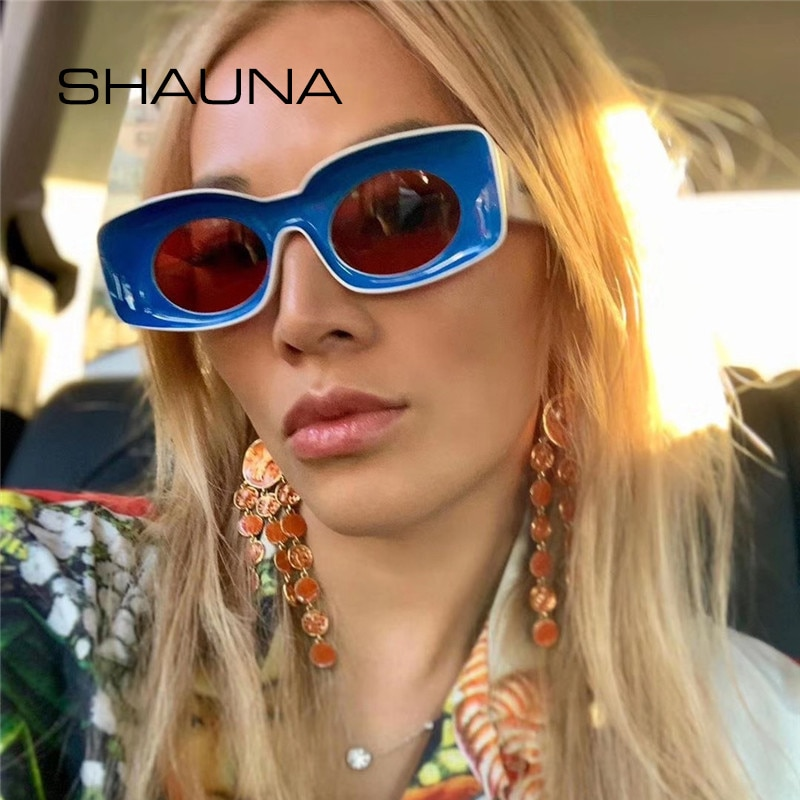 SHAUNA Double Colors Ins Popular Fashion Rectangle Sunglasses Women Concave Frame Candy Men Shades UV400