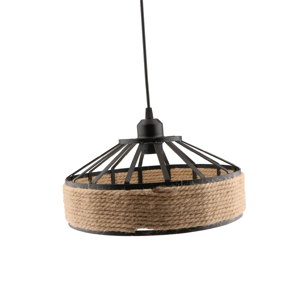 E27 Base Manila Rope Twined Pendant Lightpshade Frame Iron Wire Ceiling Chandelier Hanging Lightshade enlarge