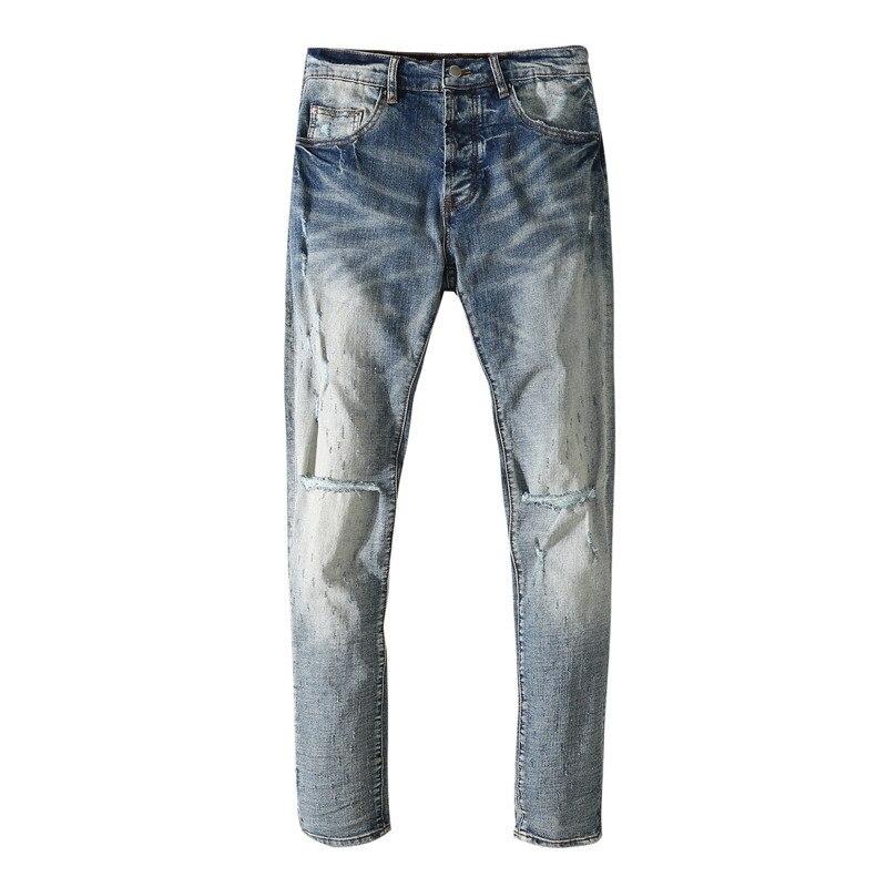 American Famous Brand AMR Wathet Washed Vintage Ripped Jeans Men Trousers Streetwear Men's Clothing Men's Pants Techwear