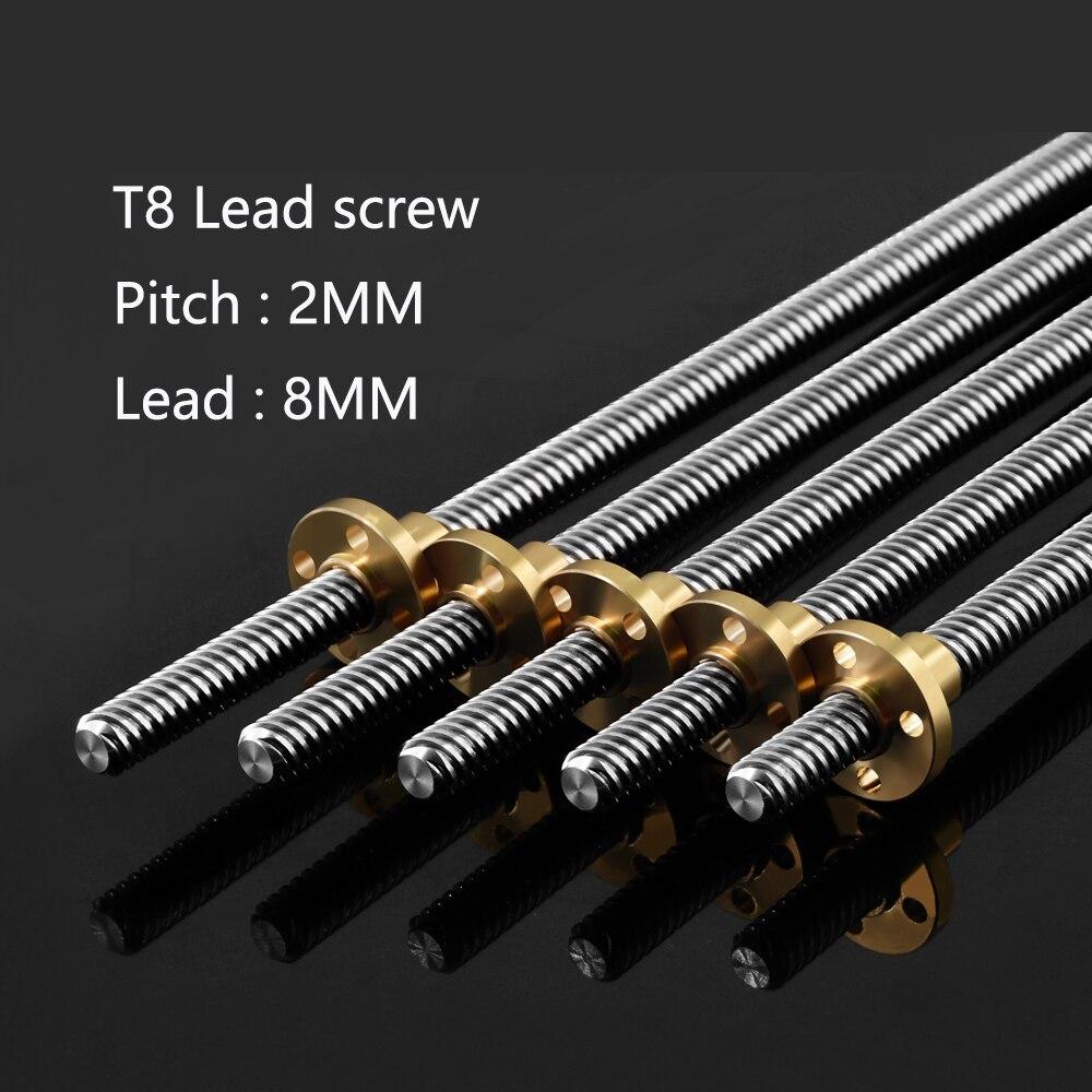 4 unids/lote 3D impresora T8 tornillo 8mm tornillo de plomo 300mm 350mm 400mm 500mm con tuerca de latón 4 inicio eje Z Eje de carril lineal Accesorios