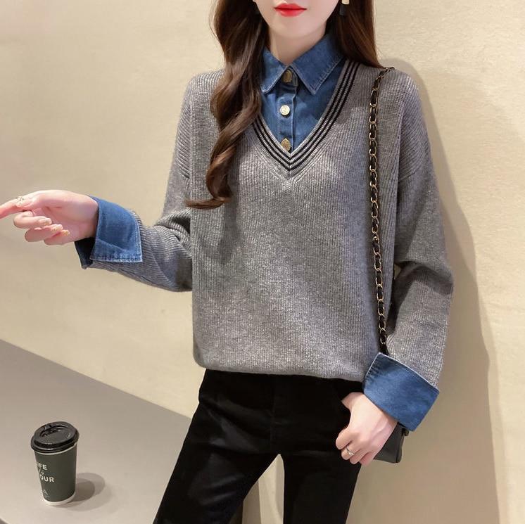 Женский трикотажный Свободный пуловер из джинсовой ткани