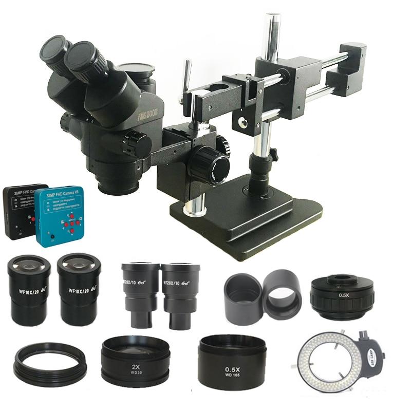 Novo modelo 3.5x-180x duplo boom trinocular microscópio estéreo de solda industrial 38mp hdmi usb microscopio câmera kits de telefone