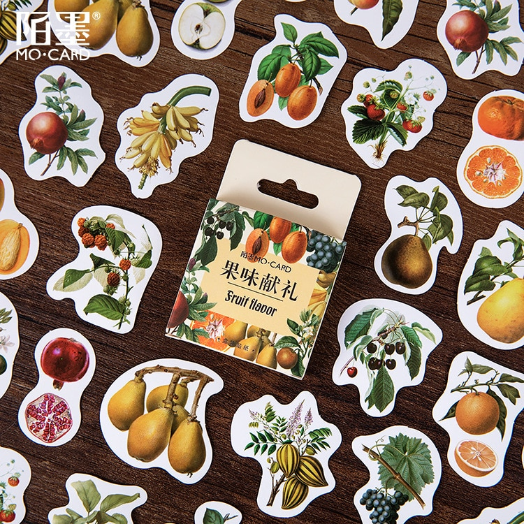 46 unids/pack frutas de la cosecha de la etiqueta engomada de papel álbum de diario etiqueta manual Etiquetas de decoración Scrapbooking etiqueta engomada