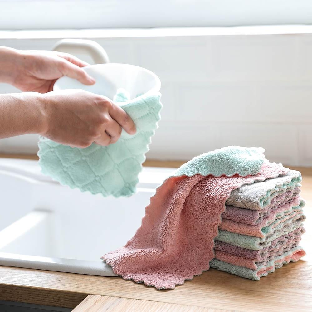Toalha de cozinha antiaderente, toalha coral de veludo, pano, resistente ao óleo mágico, toalha de limpeza de microfibra
