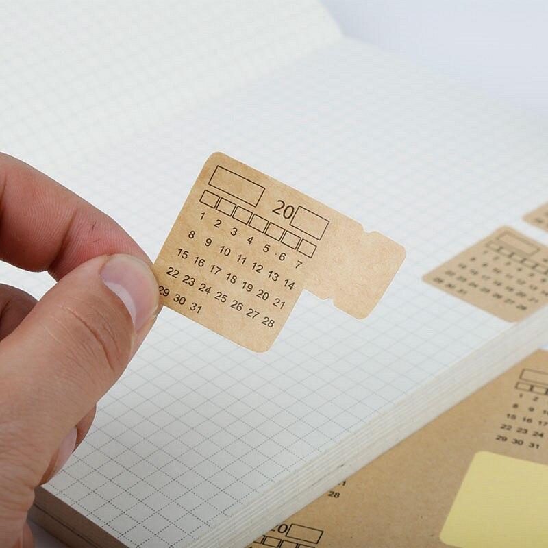 4 hojas 2019 2020 papel Kraft escrito a mano calendario cuaderno etiquetas engomadas del índice pegatina de calendario papelería