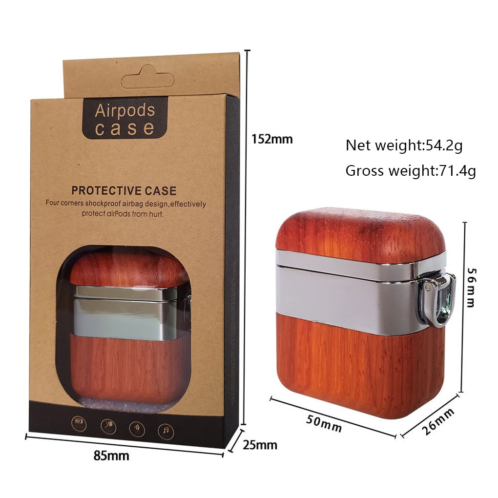 Reemplazo para funda de AirPods de madera Wwireless auriculares cubierta Organizadores de auriculares caja protectora caja de auricular de madera sólida