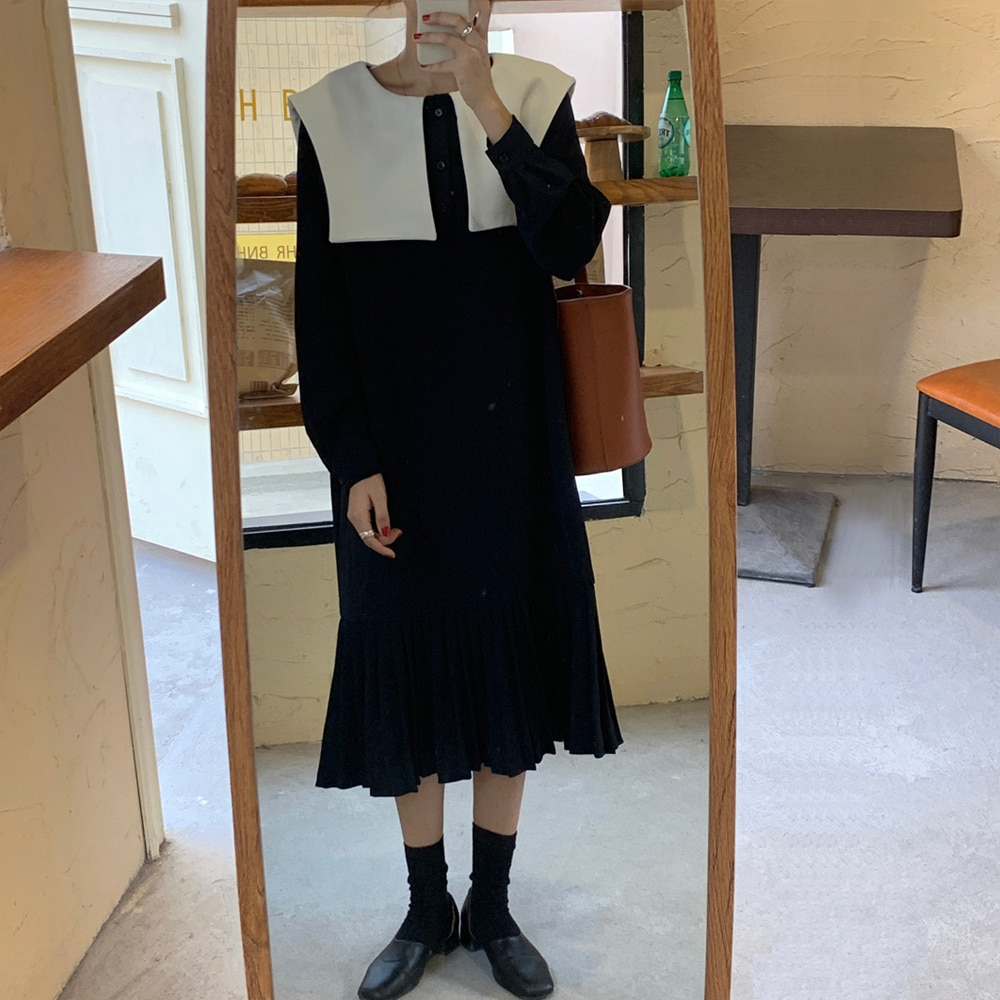 Women Vintage Long Dress Long Sleeve Square Neck Loose Ruffle Hem Plus Size Sukienki Ropa Mujer Casual Ladies Party Robe Femme