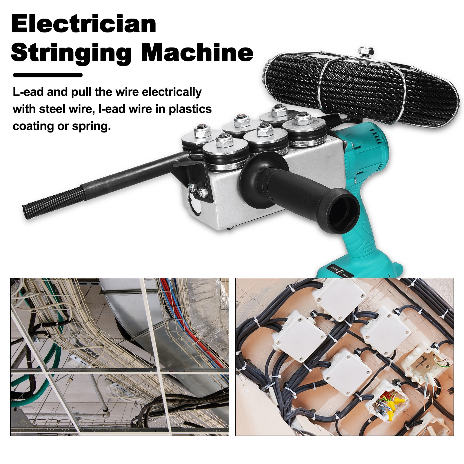 Automatic Brushless Electrician Stringing Machine Wall Wiring Machine Rechargeable Electric Battery Threading Machine For Wire