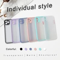 luxury shockproof color border phone case matte transparent for iphone 7 8 11 12 s mini pro x xs xr max plus cover funda shell