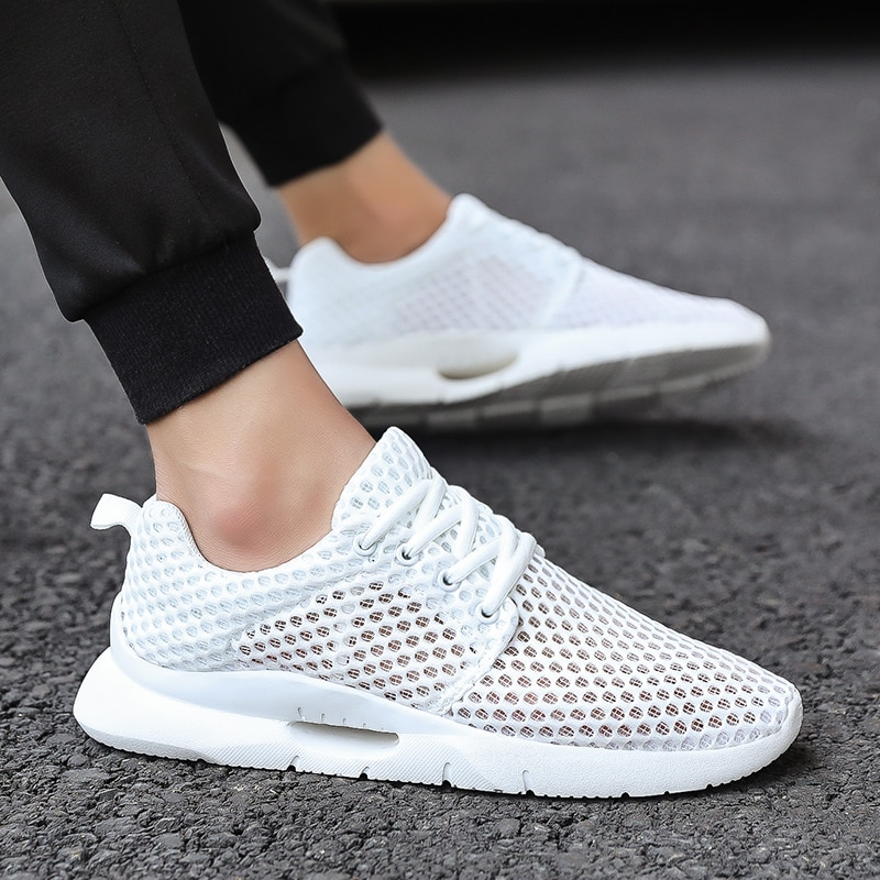 Newbeads Men's Walking Sneakers Lace Up Mesh Breathable Hollow Mesh Shoes Casual Outdoor Sports Fashion Big Size 39-48