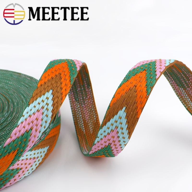 Купить с кэшбэком 8Meters Polyester Jacquard Webbings 22mm Backpack Pet Strap Webbing Label Ribbon Sewing Tape Bias Binding Clothing Accessories