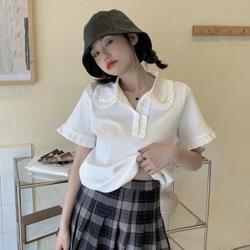 Polo Collar White Short-Sleeved T-shirt for Women Summer 2021 New Design Sense Niche Slim Fit Underw